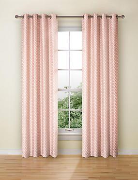 Isla Jacquard Curtains, SOFT PINK, catlanding