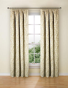Trezo Damask Curtains, OCHRE, catlanding