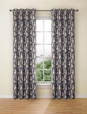 Rosalie Jacquard Eyelet Curtains, BLUE MIX, catlanding
