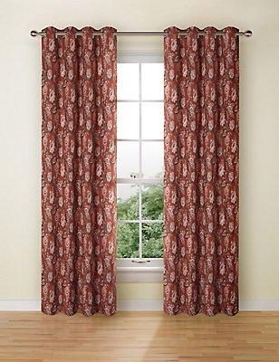 Rosalie Jacquard Eyelet Curtains, TERRACOTTA MIX, catlanding