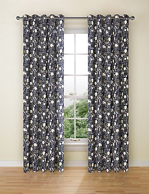 Floral Print Curtains, NAVY MIX, catlanding