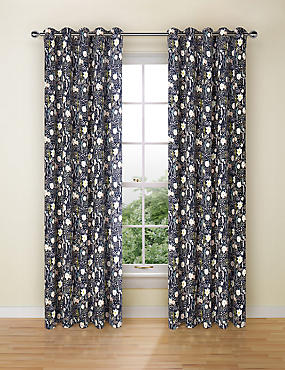 Floral Print Curtains, NAVY MIX, catlanding