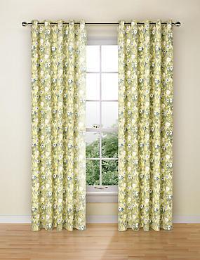 Floral Print Curtains, OCHRE, catlanding