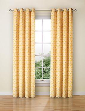 Daisy Geometric Print Curtain, OCHRE, catlanding