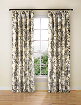 Otis Parrot Print Curtains, BLACK MIX, catlanding