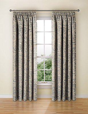 Alba Metallic Print Curtain, BLUE MIX, catlanding