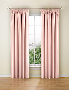 Faux Silk Pencil Pleat Black-Out Curtains, PALE PINK, catlanding