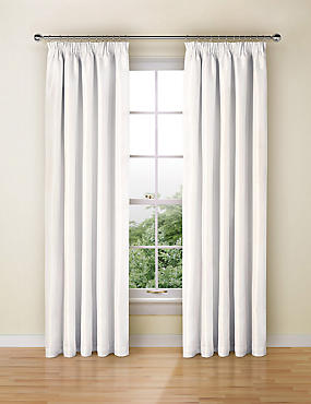 Faux Silk Pencil Pleat Black-Out Curtains, WHITE, catlanding