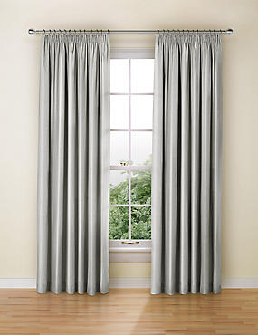 Faux Silk Black Out Pencil Pleat Curtain, SILVER GREY, catlanding