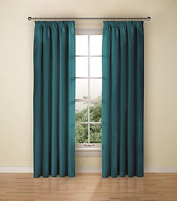 Faux Silk Black Out Pencil Pleat Curtain, TEAL, catlanding