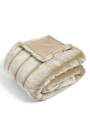 Sheared Stripe Faux Fur Throw, HONEY, catlanding