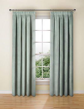 Chenille Damask Pencil Pleat Curtain, DUCK EGG, catlanding