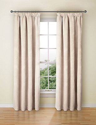 Chenille Damask Pencil Pleat Curtain, CREAM, catlanding