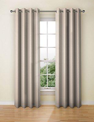 Textural Stripe Eyelet Curtain, MUSHROOM, catlanding