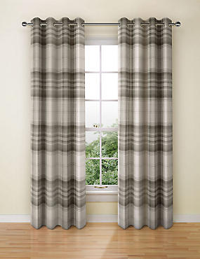 Cosy Checked Eyelet Curtain, GREY MIX, catlanding