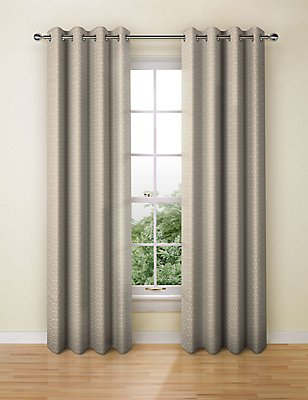 Raised Crackle Geo Eyelet Curtain, MOCHA, catlanding