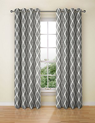 Manhattan Eyelet Curtain, BLACK MIX, catlanding