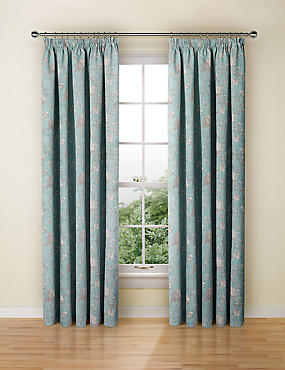 Floral Toile Print Pencil Pleat Curtain, DUCK EGG, catlanding