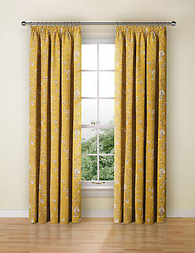 Floral Toile Print Pencil Pleat Curtain, OCHRE, catlanding