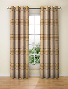 Blain Checked Eyelet Curtain, OCHRE, catlanding