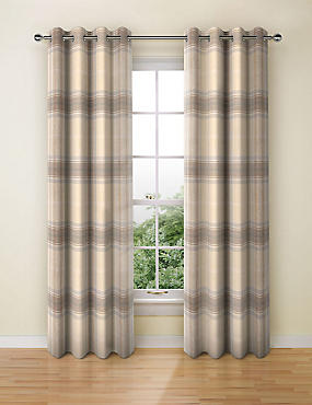 Blain Checked Eyelet Curtain, NATURAL MIX, catlanding