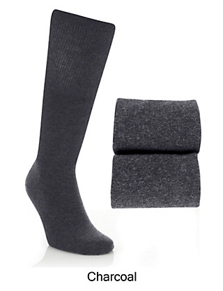 2 Pairs of Cotton Rich Freshfeet™ Long Socks with Silver Technology Clothing
