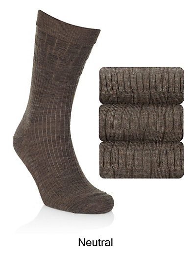 3 Pairs of Freshfeet™ Wool Blend Non Elastic Socks with Silver Technology Clothing
