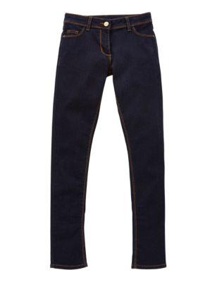Хлопковые тёмно-синие джинсы скинни для девочки 5-14 лет