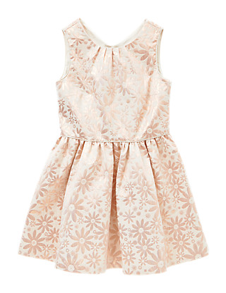 Metallic Effect Floral Jacquard Girls Dress (5-14 Years) Clothing