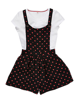 2 Piece Heart Print Playsuit & T-Shirt Girls Outfit (5-14 Years) Clothing