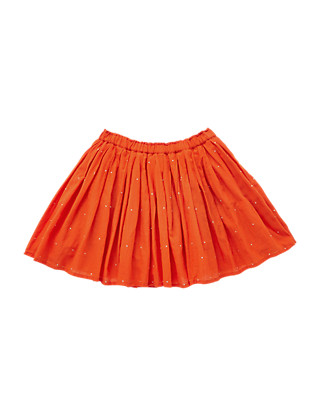 Pure Cotton Stud Embellished Pleated Crêpe Skirt (5-14 Years) Clothing