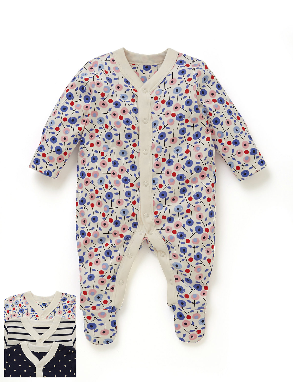 Three Pack Girls Nautical Themed Sleepsuit