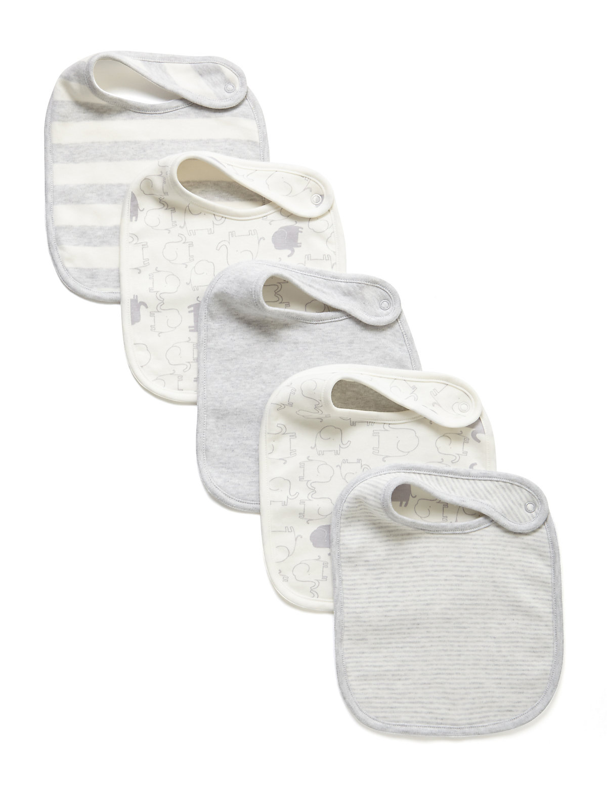 5 Pack Pure Cotton Assorted Bibs