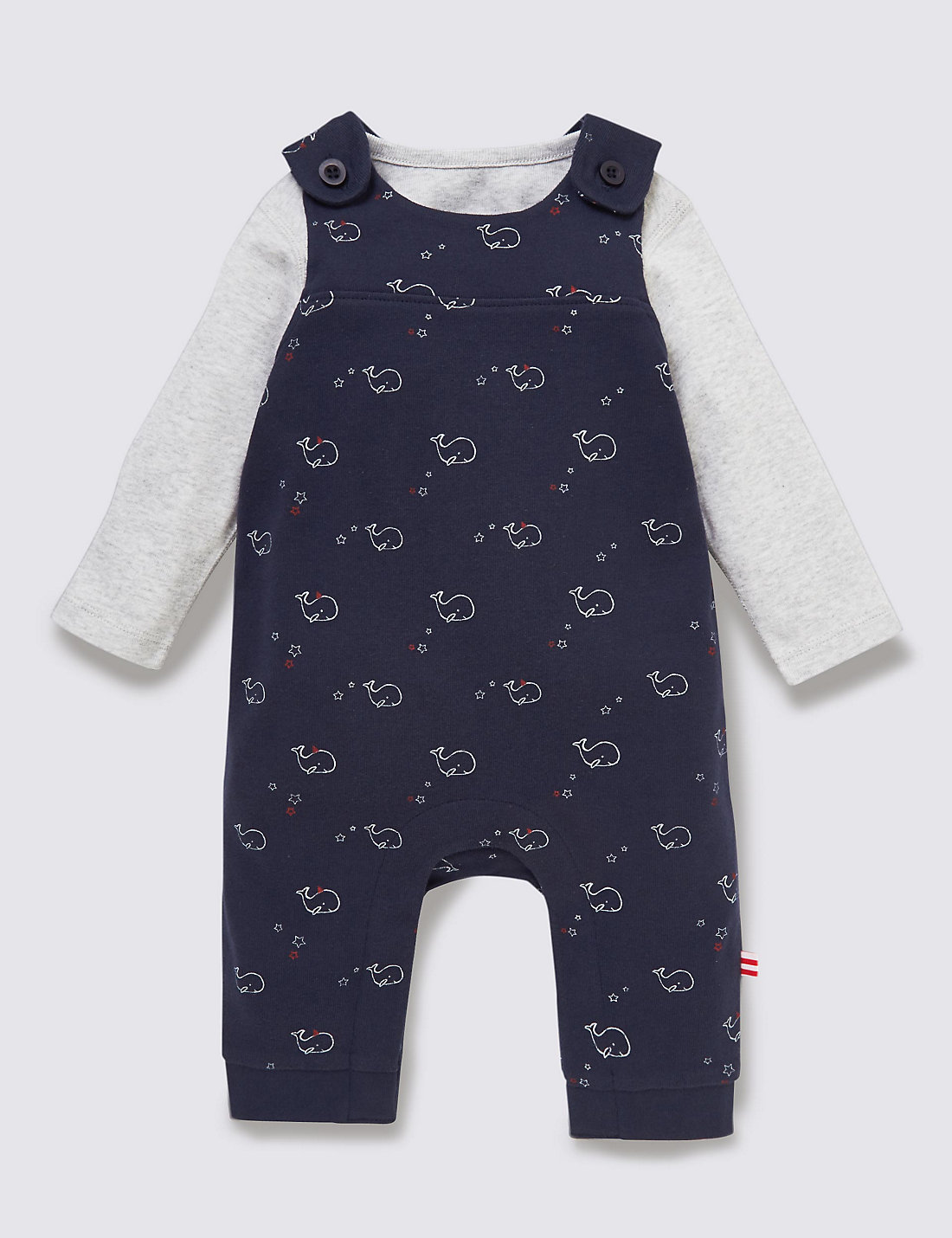 2 Piece Pure Cotton Bodysuit & Whale Print Dungaree Outfit