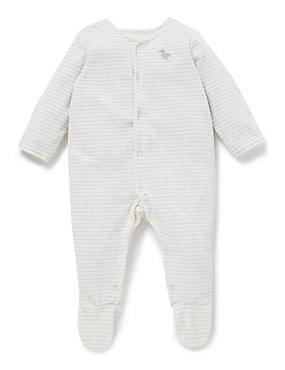 Striped Velour Sleepsuit