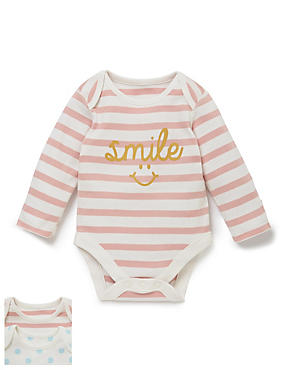 2 Pack Happy Smile Long Sleeved Bodysuits