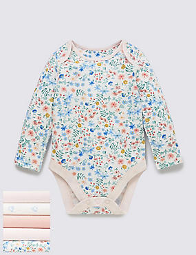 5 Pack Floral Print Long Sleeved Bodysuits