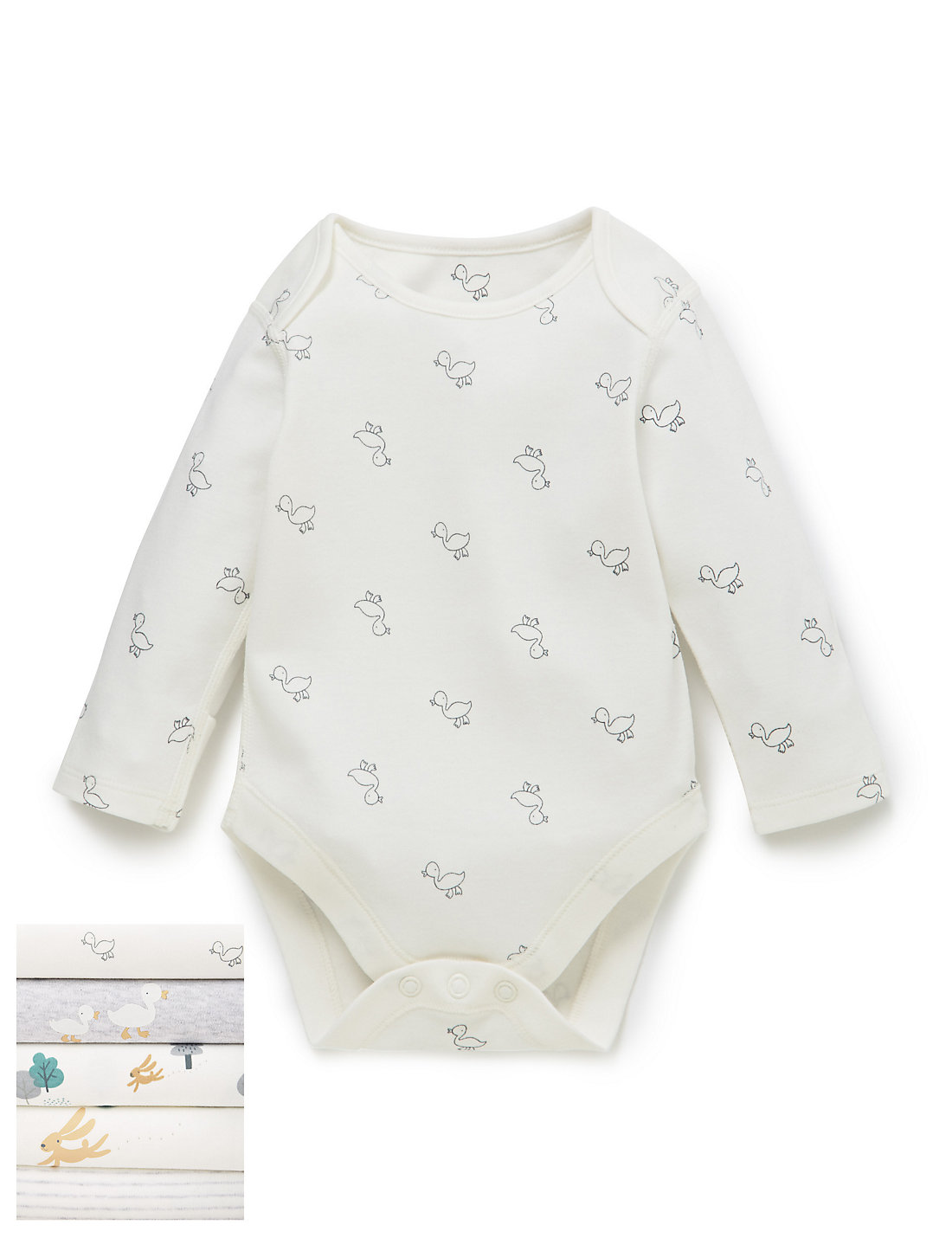 5 Pack Pure Cotton Duck Print Long Sleeved Bodysuits