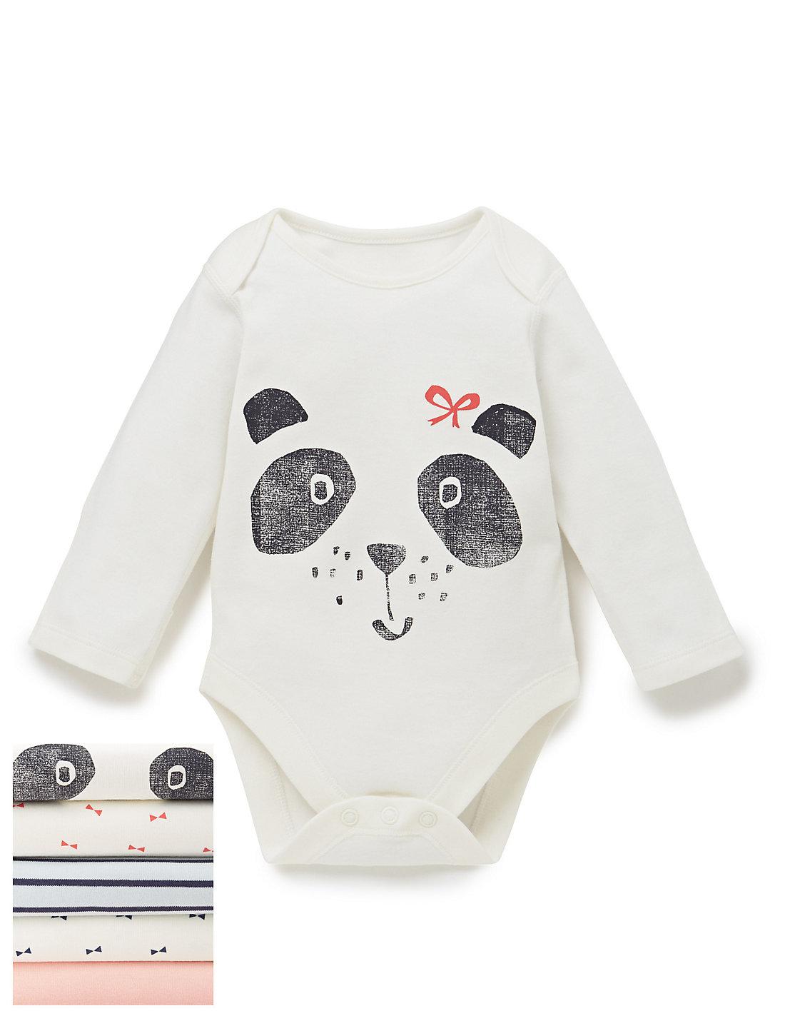 5 Pack Panda Print Bodysuits