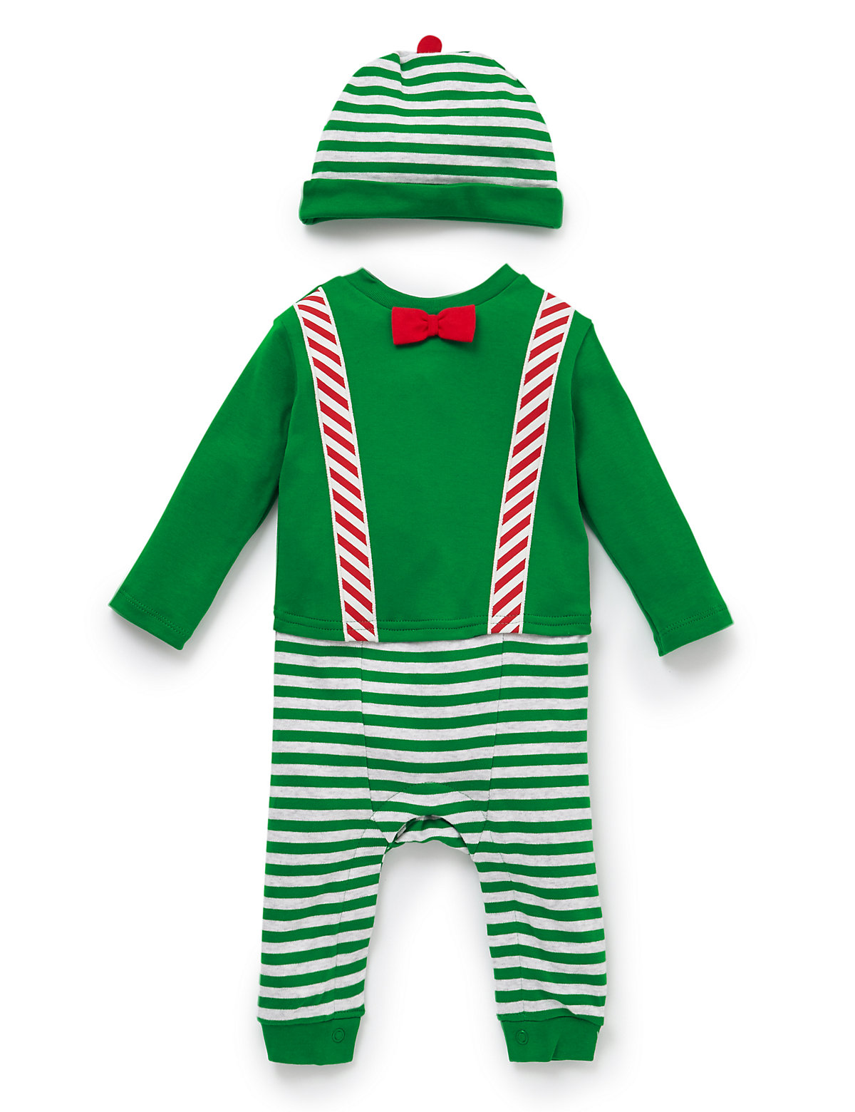 Pure cotton striped Elf Onesie with hat (M&S)