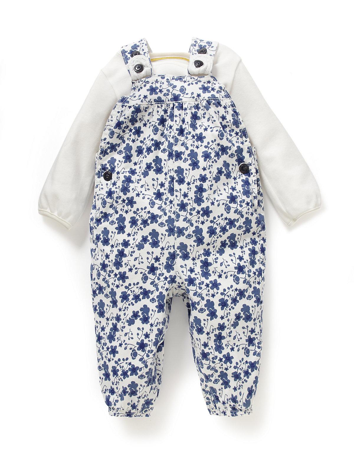 2 Piece Cotton Rich Floral Dungaree & Bodysuit Outfit