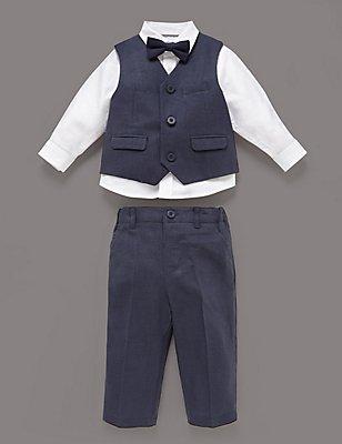3 Piece Christening Waistcoat Outfit, NAVY, catlanding
