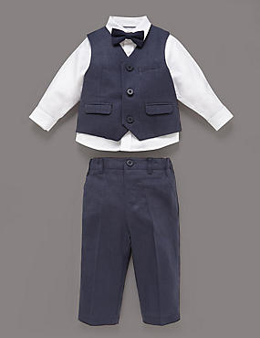 3 Piece Christening Waistcoat Outfit, NAVY, catlanding