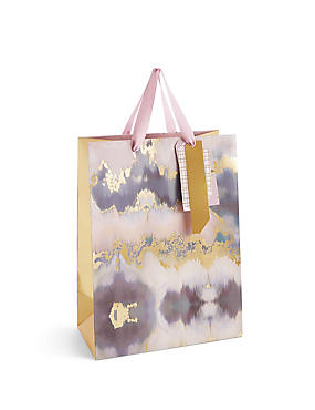 Abstract Texture Pink & Gold Large Gift Bag, , catlanding