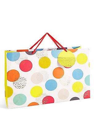 Bright Oversized Spot Print Extra Large Gift Bag, NO COLOUR, catlanding