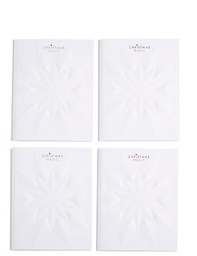 Embossed Luxury Star Christmas Charity Cards Pack of 4, , catlanding
