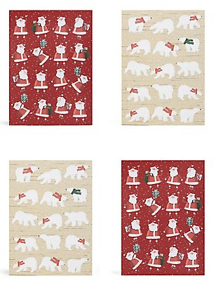 Santa & Polar Bear Christmas Charity Cards Pack of 20, , catlanding