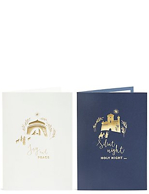 Nativity Scene Gold Christmas Charity Cards Pack of 20, , catlanding