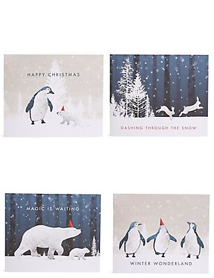 Lot de 20cartes de Noël caritatives à motif animaux polaires, , catlanding