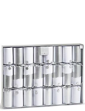 Luxury White Foil Christmas Crackers Pack of 8, , catlanding